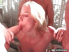 Beautiful blonde gangbanged by three guys tubes