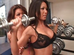 Asians in lingerie work out and eat pussy tubes