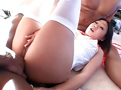Black cock up her asian ass while she blows tubes