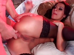 Beautiful slut in black stockings has anal sex tubes