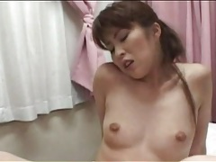 Hairy japanese cunts share double dildo tubes