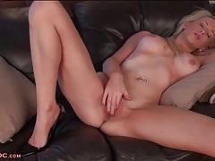 Blonde with big round boobs masturbates lustily tubes