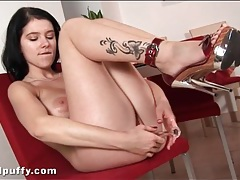 Tattooed leg hottie fucks a glass dildo tubes