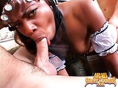 Black chick in white stockings fucked in threesome tubes