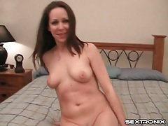 Tight body brunette strips and sucks on a dick tubes