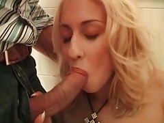 Bathroom blowjob in close up from a blonde tubes