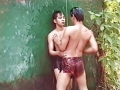Horny asians have anal sex in the jungle tubes