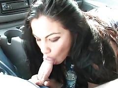 Gorgeous brunette babe sucks dick in the car tubes