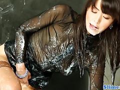 Asian marcia hase jizzed all over tubes