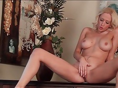 Lean blonde goddess with big tits masturbates tubes