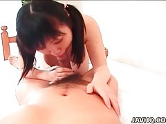 Japanese cutie in pink sweater eaten out tubes