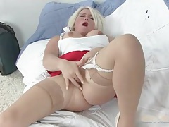 Solo blonde mom in skirt and stockings masturbates tubes