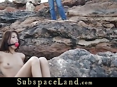 Waterfront bdsm punishment for a cute slave girl tubes