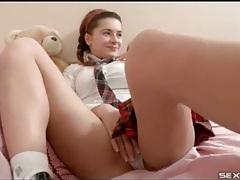 Teen schoolgirl strips to reveal her big breasts tubes
