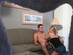 Voyeur blowjob from girl in sexy denim skirt tubes