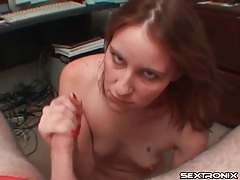 Tiny breasts girl in sexy panties sucks cock tubes