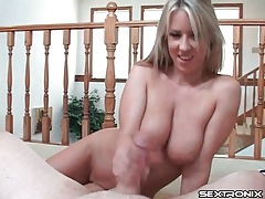 Big natural breasts are yummy in handjob video tubes