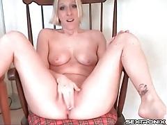 Pierced nipples hottie teases her pantyhose tubes