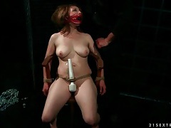Sub slut in his dungeon sucks cock tubes