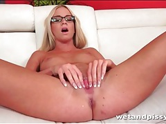 Solo nude blonde in glasses goes pee tubes