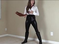 Lelu love models skintight black leather pants tubes