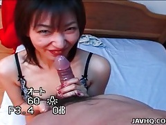 Japanese girl in lovely lace lingerie sucks dick tubes