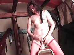 Sexy solo dildo ride with curly hair milf tubes