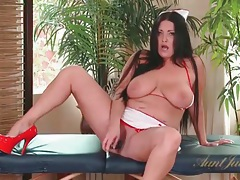 Curvy sammy brooks looks sexy as a nurse tubes
