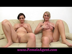 Femaleagent milf masturbates with lucky girls on the couch tubes