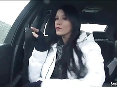 Sensual smoking in the car with lipstick girl tubes