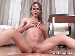 Flexible brunette fingers and pisses tubes