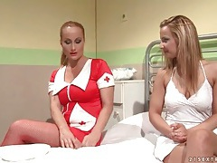 Patient in hospital tied up by sexy nurse tubes