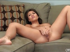 Solo brunette and a toy have dildo sex tubes