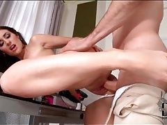 Stockings footjob and doggystyle sex in panties tubes
