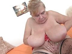 Chubby granny sucks on her nipples tubes