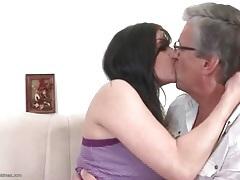 Old man kissing cute brunette girl lustily tubes