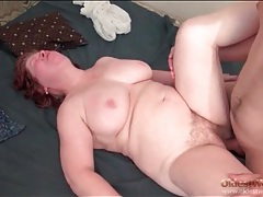 Fat mature redhead sucks and fucks tubes