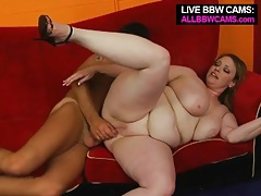 Fat girl with a bald cunt rides his hard cock tubes