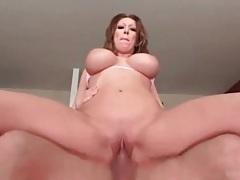 Gorgeous big tits on a cock riding slut tubes