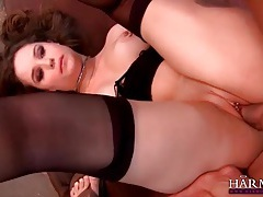Pierced beauty fucked in double penetration tubes