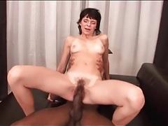 Big black cock fucks skinny girl in hairy cunt tubes