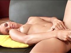 Hot girl on her back masturbating her cunt tubes
