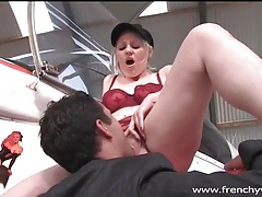 Slutty girl fucked on wing of an airplane tubes