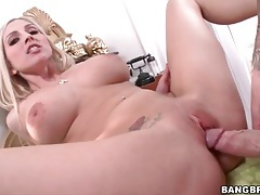Fucking big cock into her bald wet pussy tubes