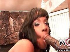 Small titty black girl in a bikini sucks cock tubes