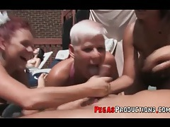 Wild group sex at a fantastic pool party tubes