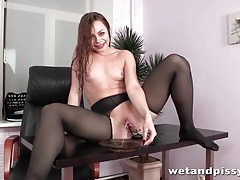 Slippery girl in ripped pantyhose masturbates tubes