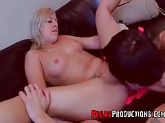 Licking and fingering sexy tattooed blonde tubes