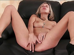 Sexy blonde strips to high heels and masturbates tubes
