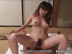 Hairy japanese vagina rides dick in close up tubes